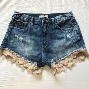 Free People laced jean shorts